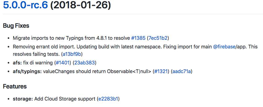 AngularFire2 5.0.0-rc.6 Changelog