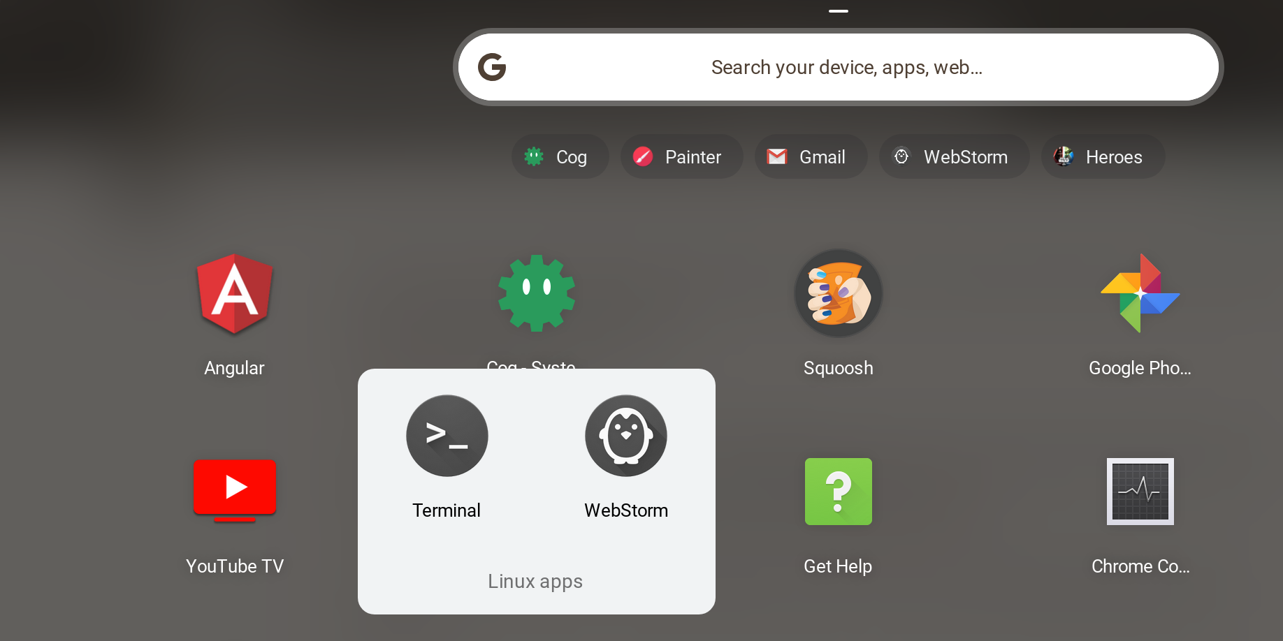 Linux apps directory in Chrome OS Launcher