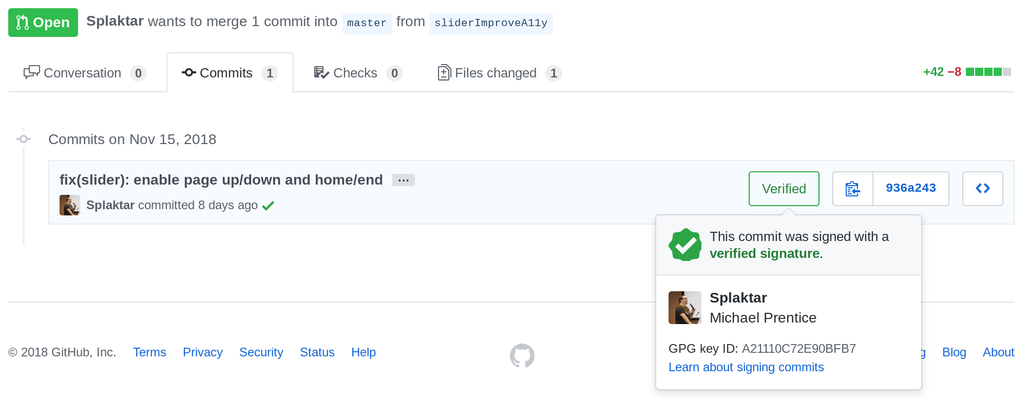 Example of a commit signed with a verified GPG key