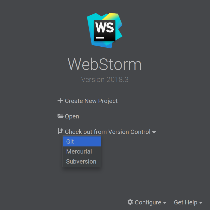 Checkout from Version Control menu